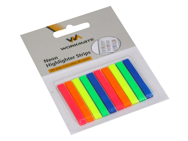 Стикер-закладка WM 48*6мм 10 цветов по 20л пластик неон 003002600