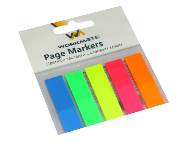 Стикер-закладка WM 45*12мм 5 цветов по 20л пластик неон 003007500