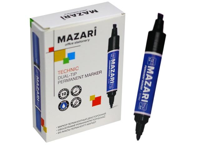 Маркер перманентный Mazari Technic синий 2-6мм двухсторонний M-5041-70