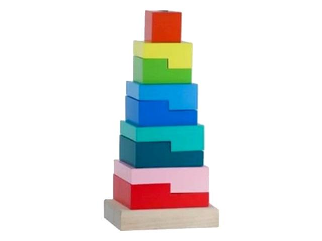 Пирамидка дерево Ступеньки Alatoys ПСТ01