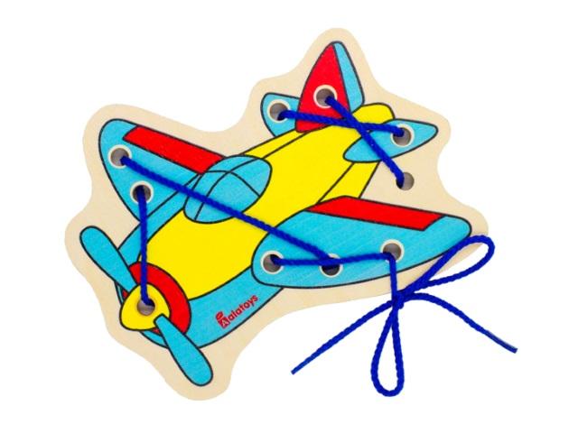 Шнуровка деревянная Самолетик Alatoys ШН30