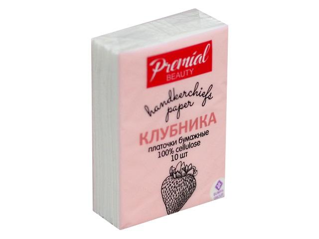 Платочки бумажные трехслойные 10 шт. ароматизированные мини Клубника Premial