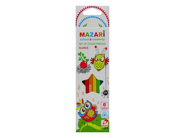 Карандаши цветные  6цв Mazari Nuance пластик трехгранные M-6097-6