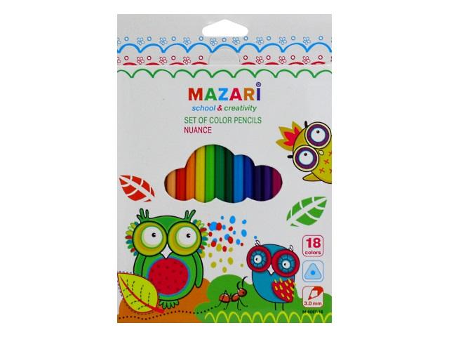 Карандаши цветные 18цв Mazari Nuance пластик трехгранные M-6097-18