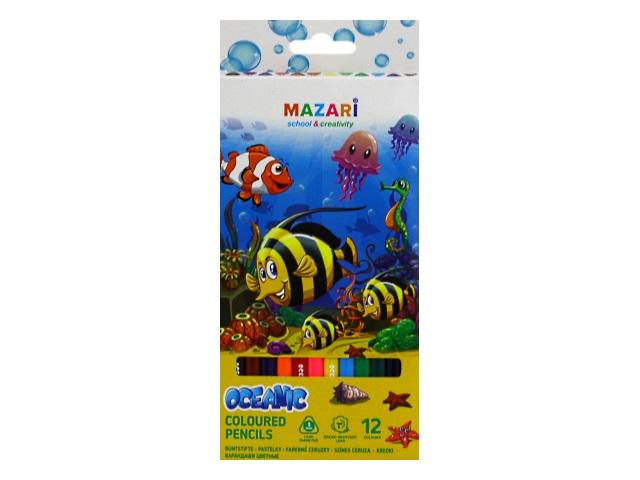 Карандаши цветные 12цв Mazari Oceanic пластик трехгранные M-6133-12