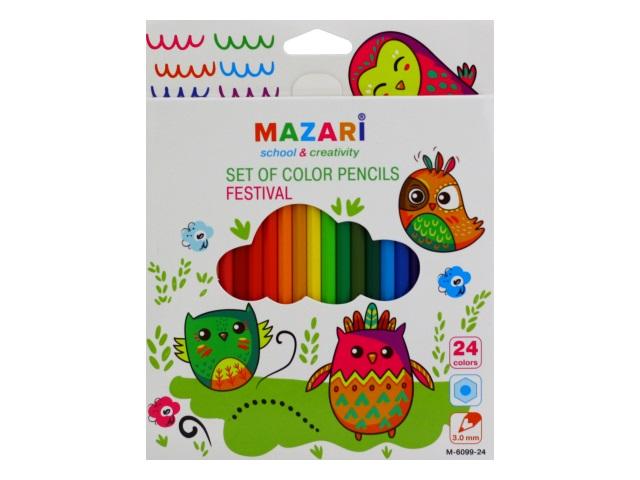 Карандаши цветные 24цв Mazari Festaval пластик шестигранные M-6099-24