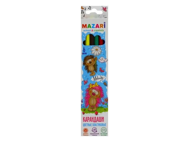Карандаши цветные  6цв Mazari Melody пластик шестигранные M-6119-6