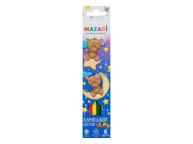 Карандаши цветные  6цв Mazari Fluffy шестигранные M-6138-6