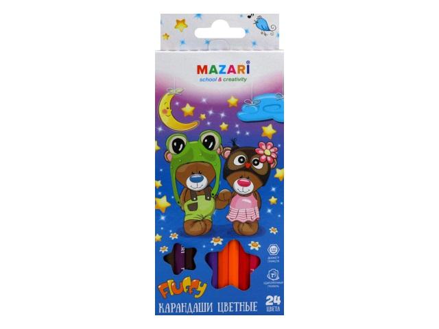 Карандаши цветные 24цв Mazari Fluffy шестигранные M-6138-24