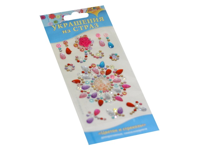 Наклейки Стразы Апплика Цветок и стрекозы С3295-12