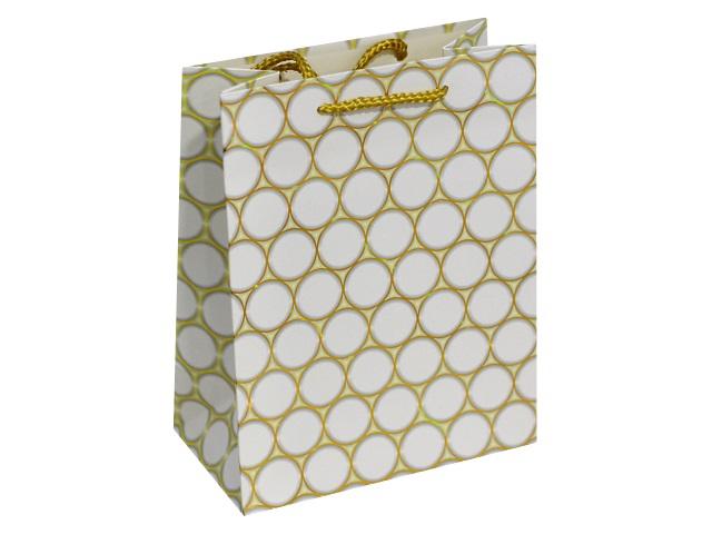Пакет подарочный бумажный 18*23*10см Золотые круги Miland ПП-4032