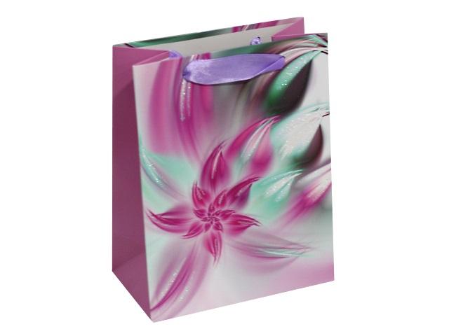 Пакет подарочный бумажный 18*23*10см Фиолетовый цветок Miland ПП-4080