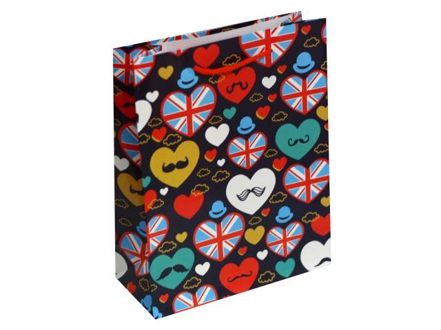 Пакет подарочный бумажный 18*23*10см Красочные сердца Miland ПГ-1698