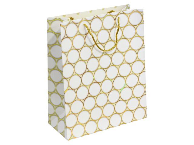 Пакет подарочный бумажный 26*32*12см Золотые круги Miland ПП-4096