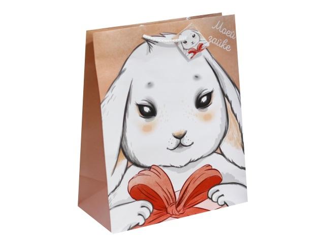 Пакет подарочный бумажный 26.4*32.7*13.6см Зайка с подарком Miland П014-0013
