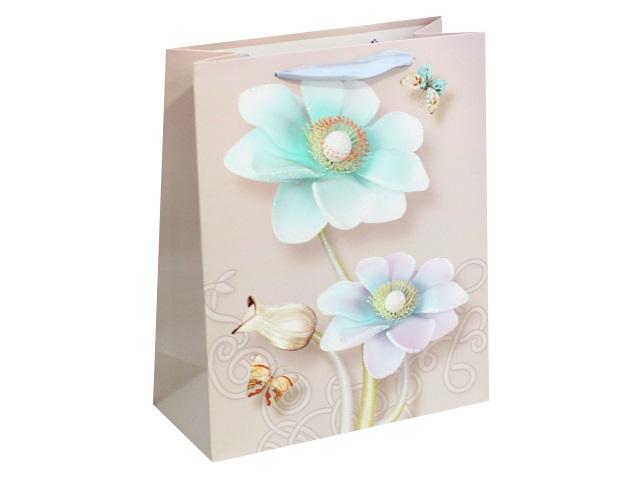 Пакет подарочный бумажный 32*26*10см Изящные цветы Miland ПП-4136