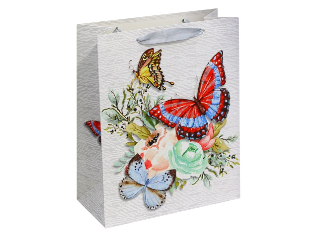 Пакет подарочный бумажный 32*26*10см Нежные бабочки Miland ПП-4147