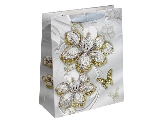 Пакет подарочный бумажный 32*26*10см Изысканные цветы Miland ПП-4138