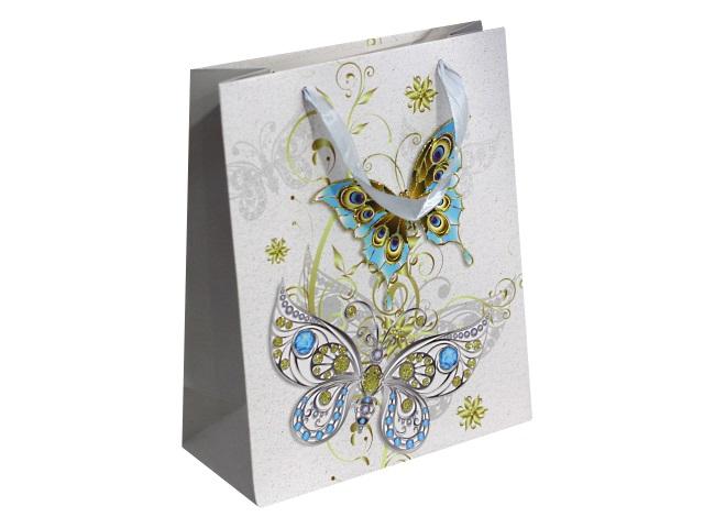 Пакет подарочный бумажный 32*26*10см Чудесные бабочки Miland ПП-4152