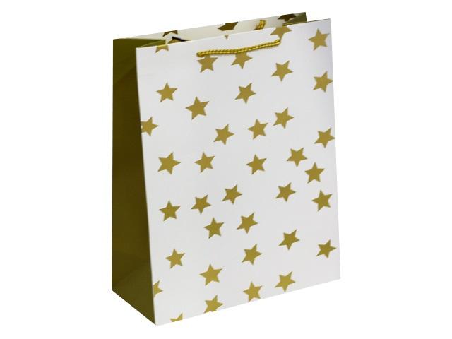 Пакет подарочный бумажный 26.4*32.7*13.6см Золотые звезды Miland ПКП-8801