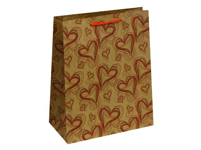 Пакет подарочный бумажный 26.4*32.7*13.6см Красные сердца крафт Miland ПКП-0895