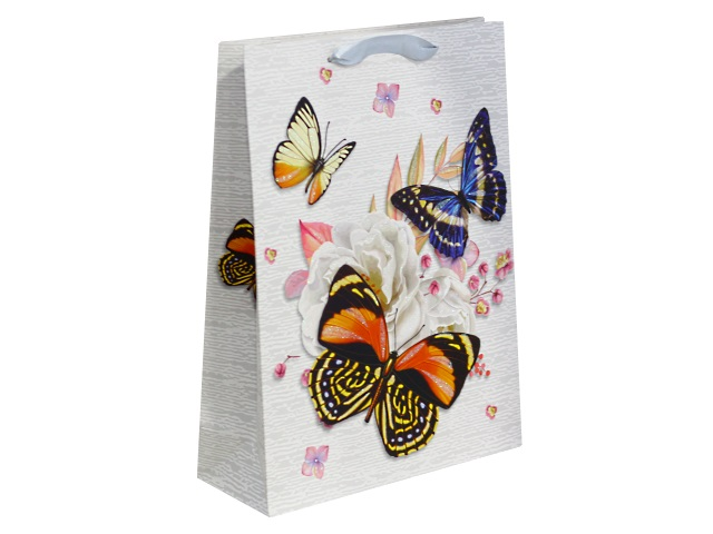 Пакет подарочный бумажный 42*31*12см Красивые бабочки Miland ПП-4202