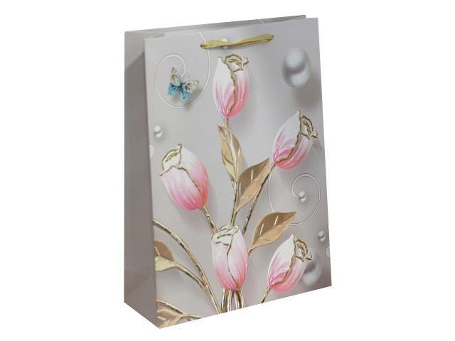 Пакет подарочный бумажный 42*31*12см Нежно-розовые цветы Miland ПП-4191