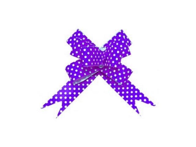 Бант-бабочка упаковочный 10 шт. 30мм Горошек фиолетовый Miland БЛ-6499