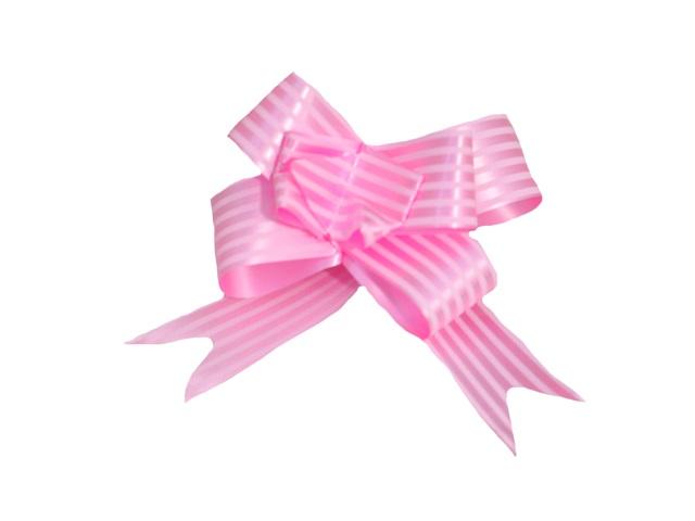 Бант-бабочка упаковочный 10 шт. 30мм Полоски розовый Miland БЛ-6505