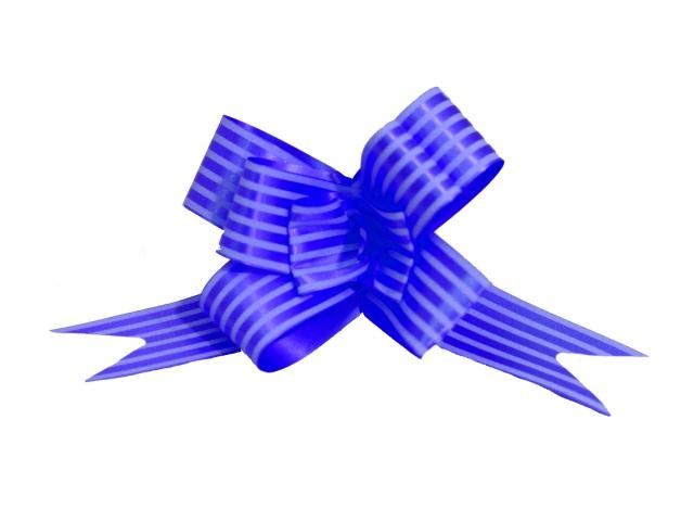 Бант-бабочка упаковочный 10 шт. 30мм Полоски синий Miland БЛ-6503