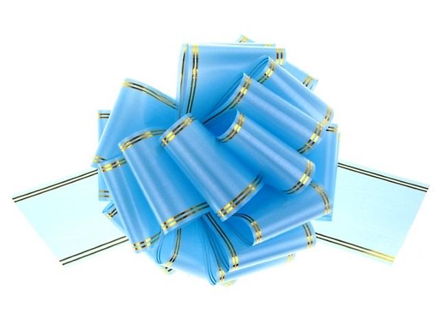 Бант-шар упаковочный 30мм Золотое сечение голубой Miland БЛ-6486