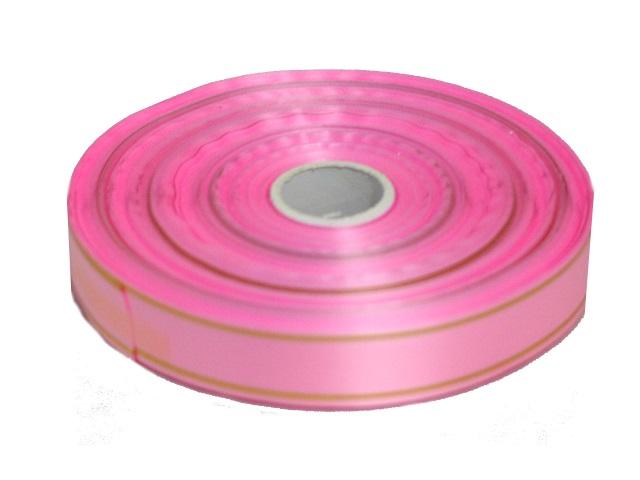 Лента упаковочная 20мм*91м Miland Золотые линии розовая БЛ-8025