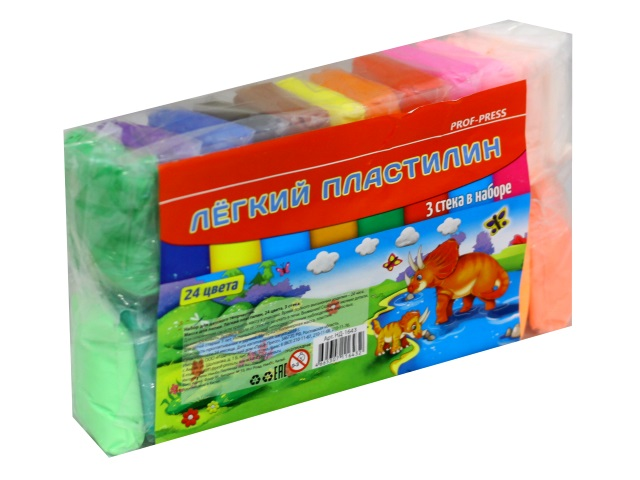 Пластилин легкий 24 цвета со стеками Prof Press НД-1643