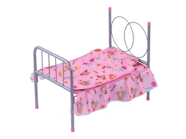 Кровать для куклы металл с покрывалом Рыжий кот 388893