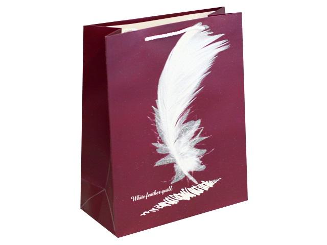 Пакет подарочный бумажный 26.4*32.7*13.6см Перо Miland ПКП-8809