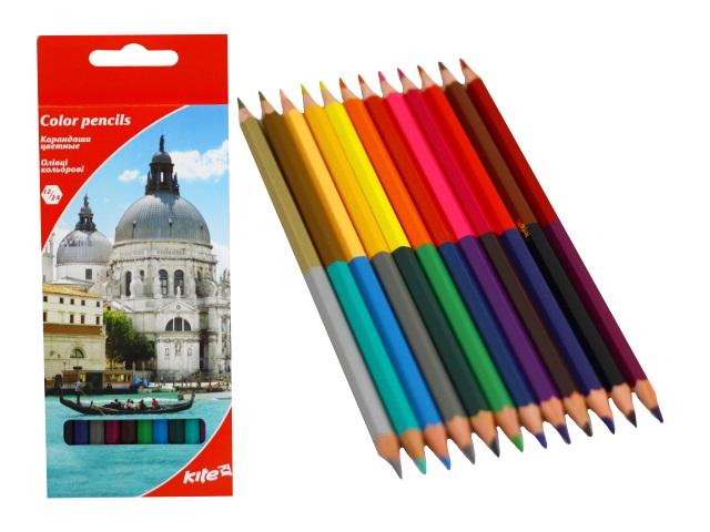 Карандаши цветные 12шт 24цв Kite Города двухсторонние шестигранные K17-054-2