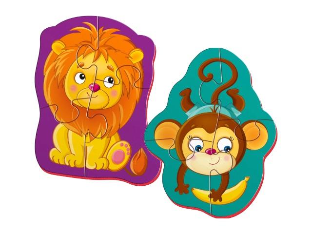 Пазлы магнитные Vladi Toys 2в1 Львенок и обезьянка VT3208-07