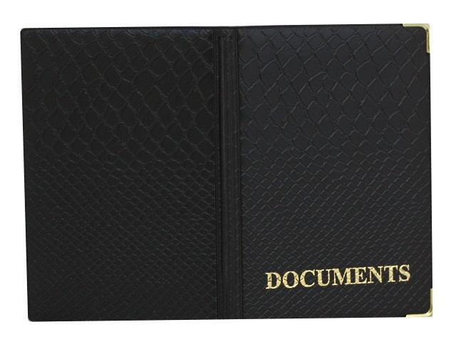 Обложка для автодокументов кожзам Аллигатор Documents черная Имидж 5.08