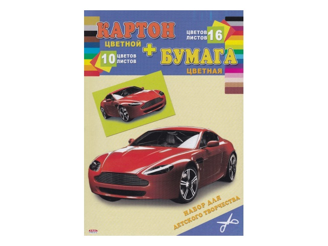 Бумага цветная + картон цветной А4 16л 10цв Быстрая машина КБ-3921