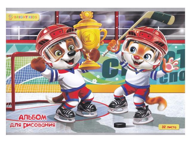 Альбом 32л А4 на скобах Хоккеисты-победители 100 г/м2 Bright Kids 32-4416