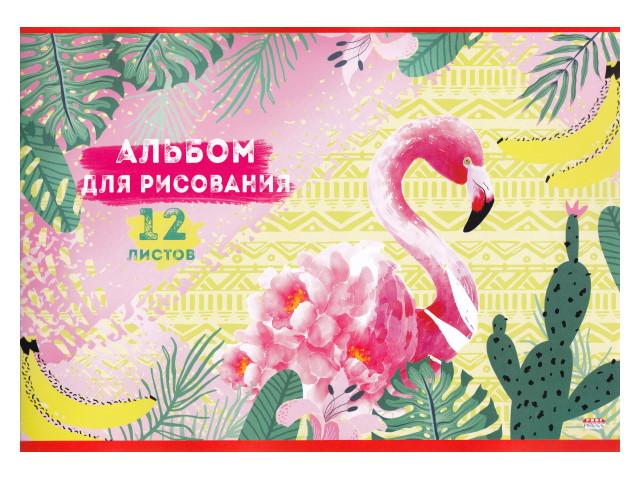 Альбом 12л А4 Prof Press на скобах Фламинго в зарослях 100 г/м2 12-4458