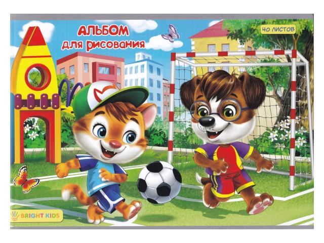Альбом 40л А4 на скобах Веселый футбол 100 г/м2 Bright Kids 40-4549