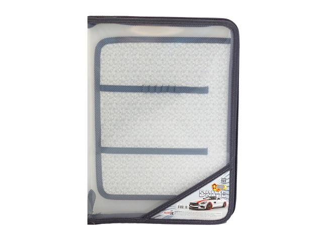 Папка для труда А4 пластик на молнии Бело-красный спорткар Prof Press ПТР-6899