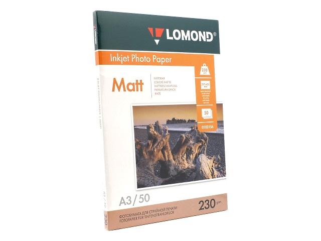 Фотобумага А3 Lomond матовая 230 г/м2 50л односторонняя 0102156
