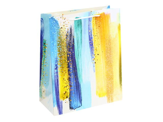 Пакет подарочный бумажный 26.4*32.7*13.6см Красочные мазки Miland ПКП-8767