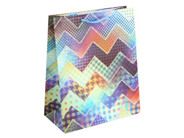 Пакет подарочный бумажный 26*32*12см Зигзаги Miland ПКП-2864