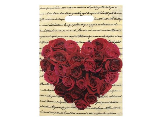 Пакет с прорезной ручкой 30*40см Сердце из роз Miland ВУР01797