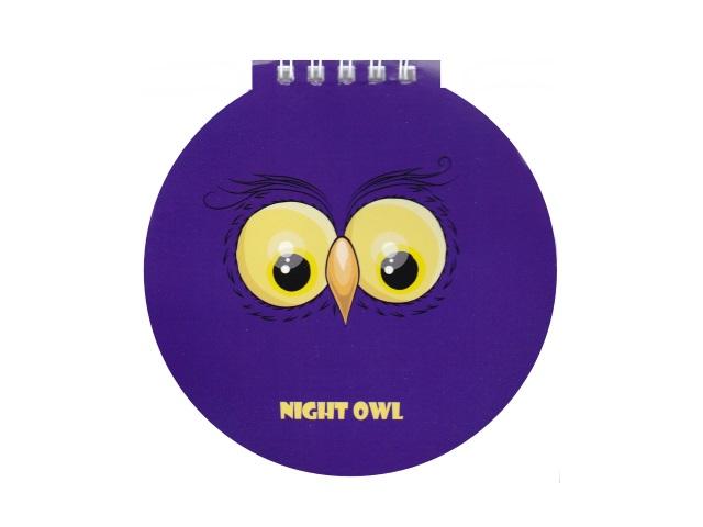 Блокнот А6 Hatber спираль сверху м/обложка  60л Night owl 60Б6Aгр_19787