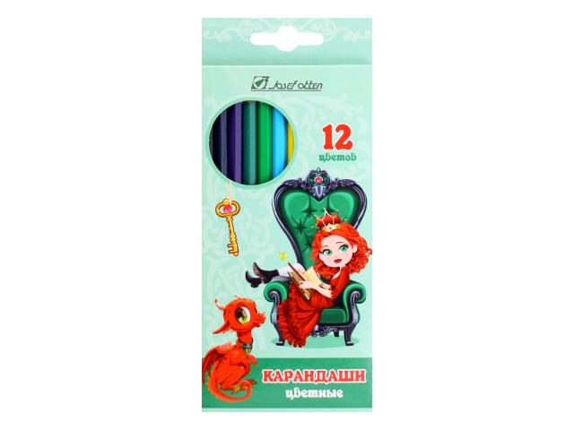 Карандаши цветные 12цв J.Otten Принцесса и дракон шестигранные 7303D-12