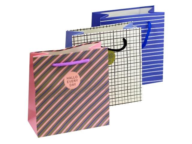 Пакет подарочный бумажный 14*15*7см Цветной микс 621